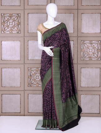 Purple color pure banarasi silk saree