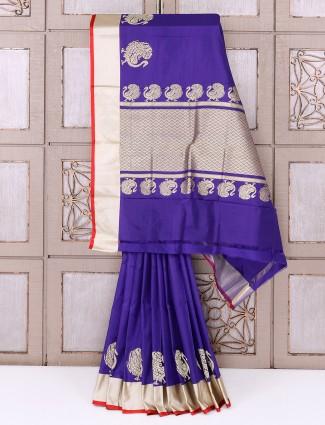 Purple color reception wear silk saree