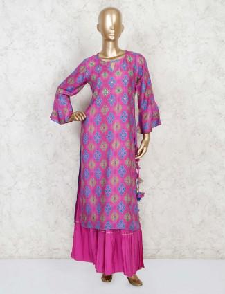 Purple cotton festive wear palazzo set