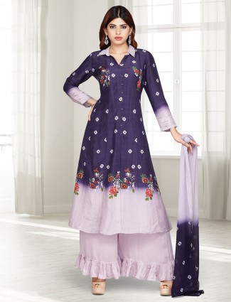 Purple cotton silk printed punjabi palazzo suit