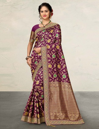 Purple designer banarasi silk saree