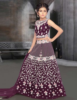 Purple designer net lehenga choli in wedding