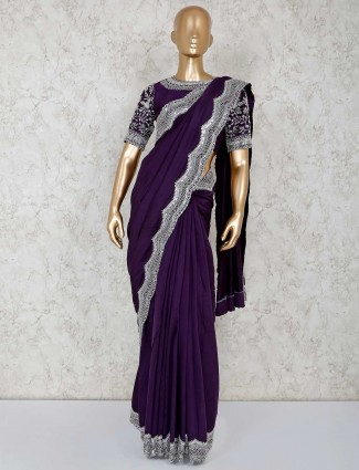 Purple designer party ready made blouse saree in pure cotton silk