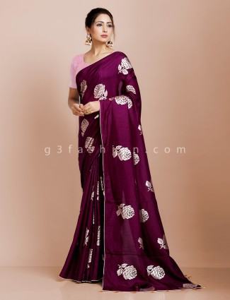 Purple dola silk saree for party