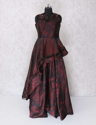 Black and maroon floor length gown