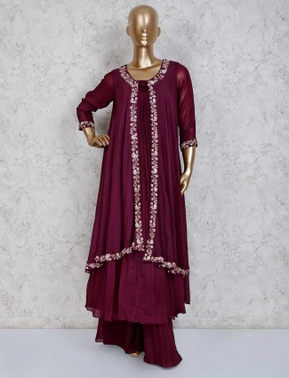 Purple georgette long palazzo suit for party