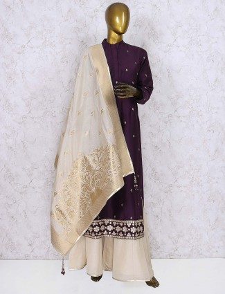 Purple hue cotton silk punjabi palazzo suit