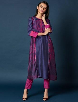 Purple hue festive salwar suit in cotton silk
