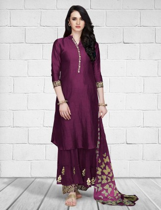 Purple hue palazzo suit in cotton silk