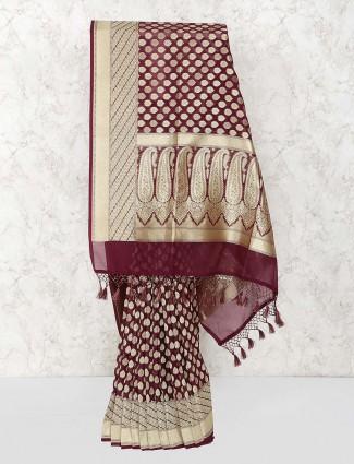 Maroon hue semi silk fabric saree for fesrtive