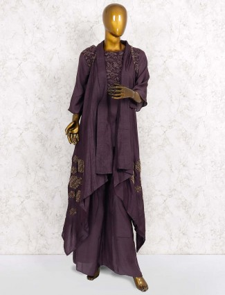 Purple hued cotton silk fabric punjabi palazzo suit