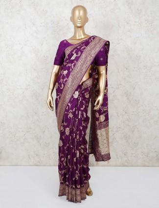 Purple munga silk saree for festival