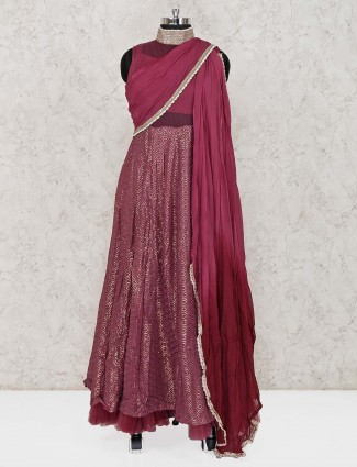 Purple net floor length anarkali suit