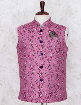Purple printed linen party waistcoat