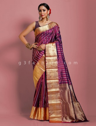 Purple pure kanjivaram silk evening party saree