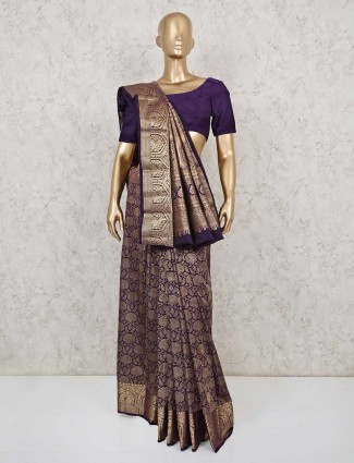 Purple pure south silk saree with zari weaving
