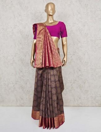 Purple saree design in pure south silk