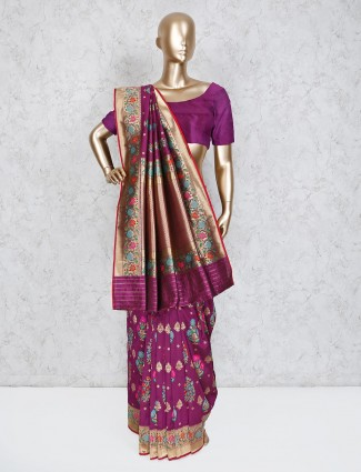 Purple semi silk thread weaving saree