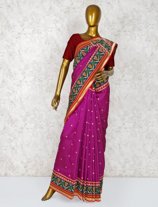 Purple silk lovely wedding saree