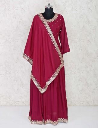 Purple stylish anarkali suit for wedding in cotton