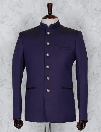 Purple terry rayon fabric solid jodhpuri blazer