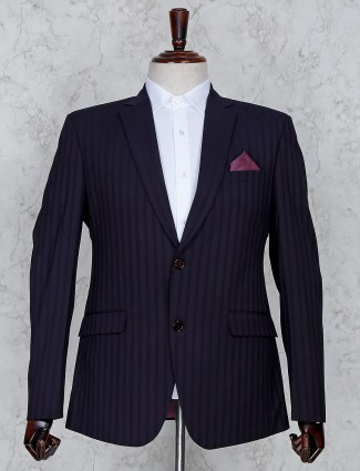 Purple terry rayon fabric stripe coat suit for party