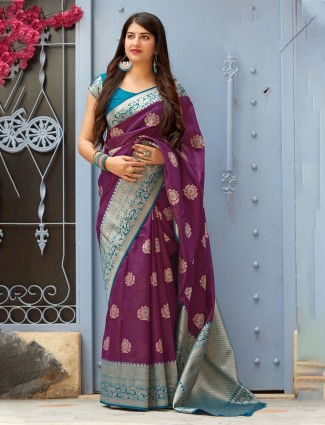 Purple wedding banarasi silk fabric saree