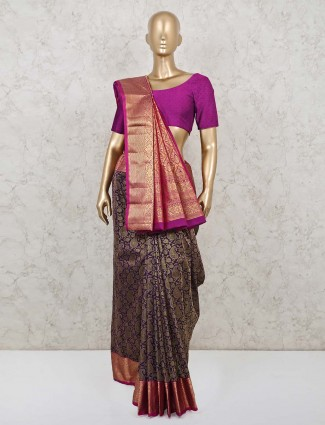 Purple wedding wear saree in south pure silk