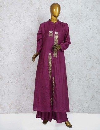 Purple wine cotton silk sharara suit