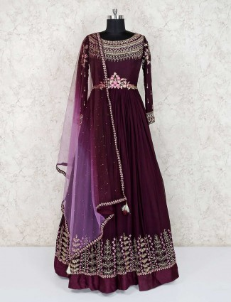 Purple wine designer wedding wear anarkali suit