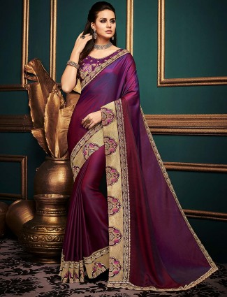 Purple wine hue cotton silk festive saree