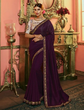 Purple wine kashmiri silk saree