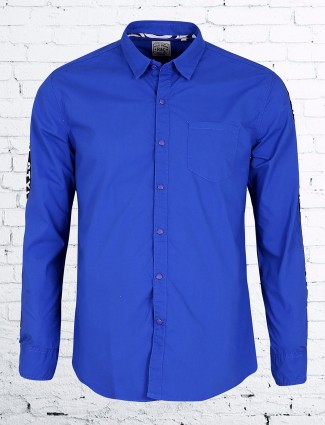 R&C casual wear cotton shirt in blue color