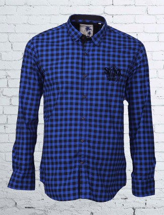 R & C cotton blue checks shirt