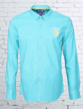 R & C sky blue cotton shirt