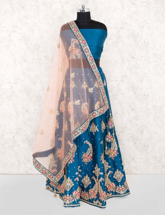 Rama blue raw silk fabric wedding lehenga choli
