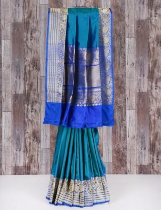 Rama blue silk wonderful saree