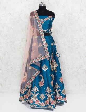 Rama blue wedding raw silk semi stitched lehenga choli