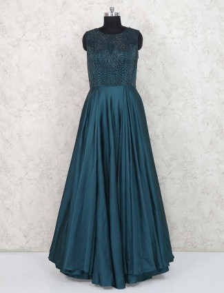 Rama green colored silk fabric party gown