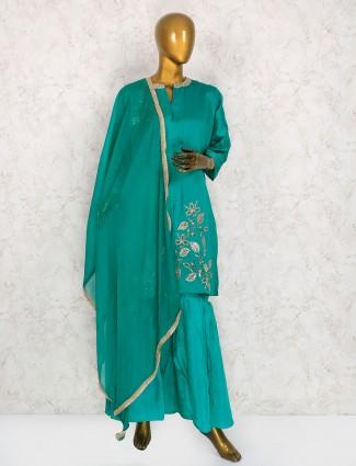 Rama green cotton silk palazzo suit