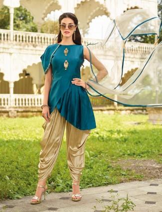 Rama green silk festive wear dhoti suit