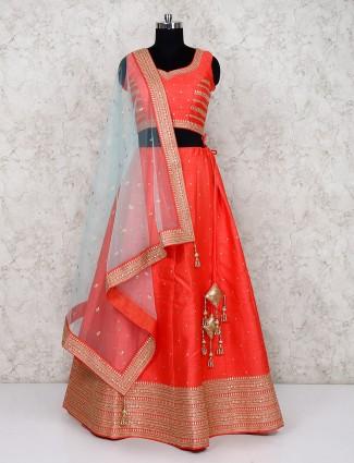Orange wedding silk fabric lehenga choli