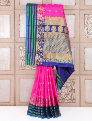 Rani and navy south silk saree