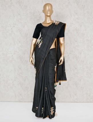 Raw silk black festive wear saree