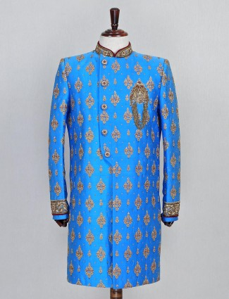 Raw silk blue wedding sherwani in raw silk