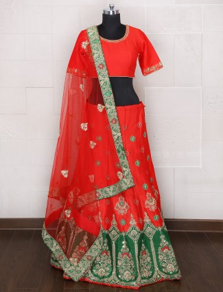 Raw silk bridal wear unstitched alluring lehenga choli