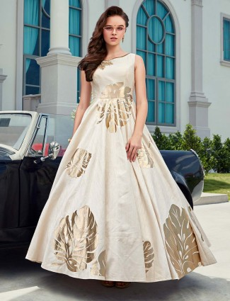Raw silk cream boat neck floor length anarkali suit