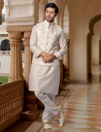 Raw silk cream color party wear waistcoat set