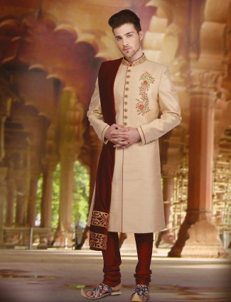 Raw silk cream plain sherwani