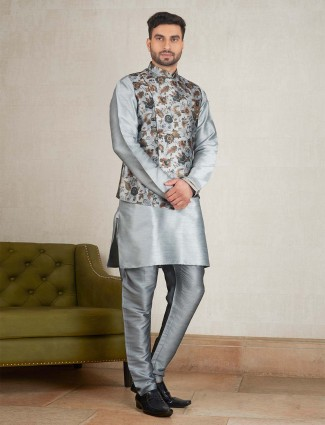 Raw silk fabric grey color party waistcoat set
